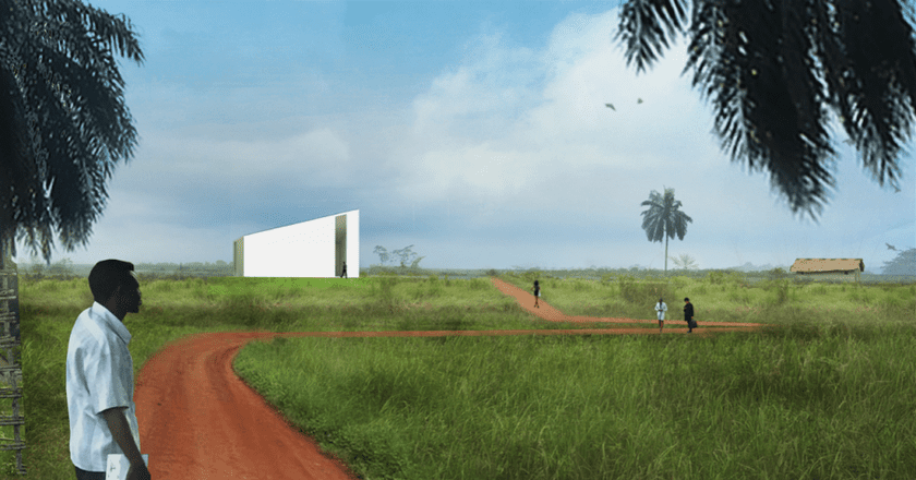 Rendering of the White Cube in Lusanga | © OMA