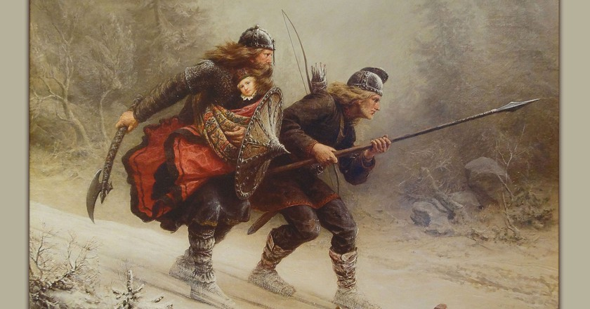 Birkebeinerne på Ski over Fjeldet med Kongsbarnet © Knud Bergslien