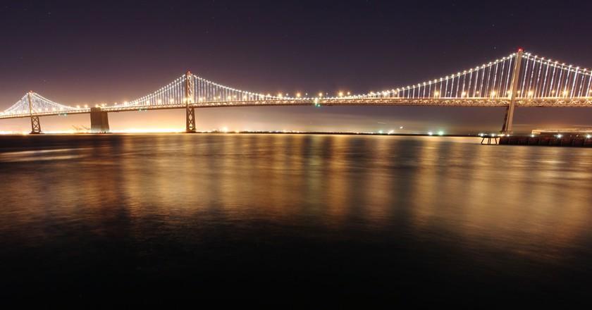 The Bay Bridge with new LED lights | © Evan Blaser / Flickr