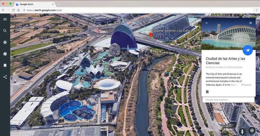 Ciudad de las Artes y Las Ciencias in Valencia, Spain on Google Earth   Courtesy of Google