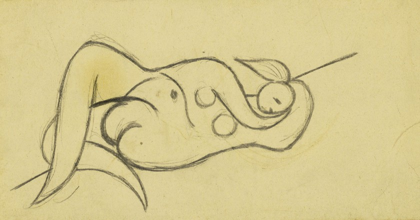 Femme Nue Couchée Pencil on paper laid down on card 4¼ by 8 in.; 10.7 by 20.3 cm Executed in Boisgeloup in June 1932. Estimate: $30/40,000. Courtesy of Sotheby's.