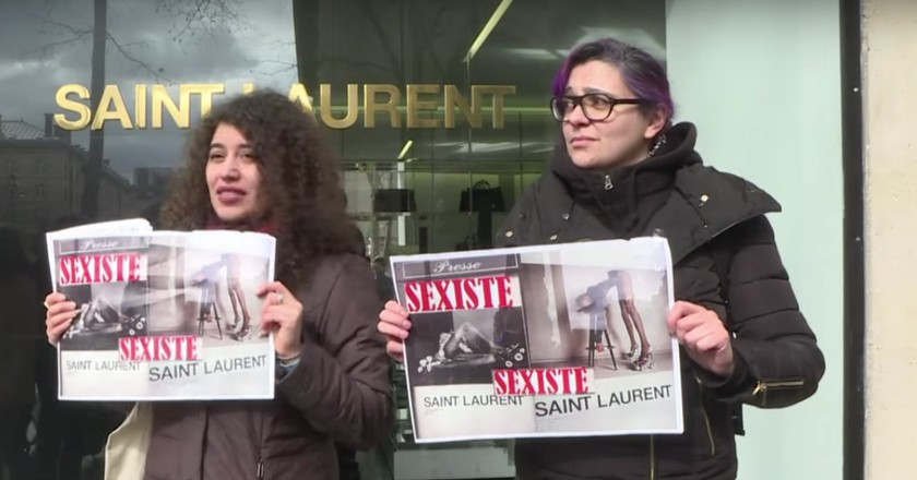 Protestors outside Saint Laurent in March 2017 |Courtesy of AFP / YouTube