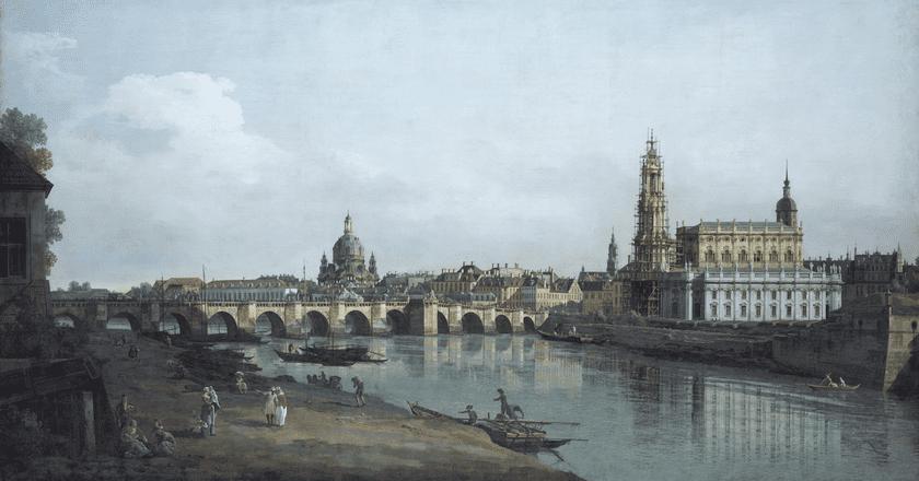 Canaletto's 'Dresden as Seen From the Banks of the River Elbe Below the Augustus Bridge', 1748 Gemäldegalerie Alte Meister, Staatliche Kunstsammlungen Dresden, Foto: Elke Estel