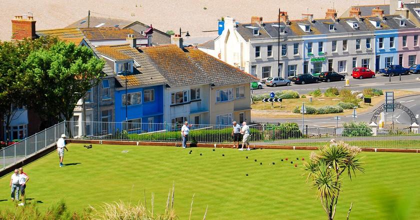 Lawn bowls by the sea, Isle Of Portland, Dorset   © Stuart Fretwell/REX/Shutterstock