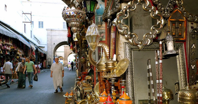 """<a href = """"https://www.flickr.com/photos/luc/3929488332/""""> Traditional Moroccan goods for sale in Casablanca's medina 