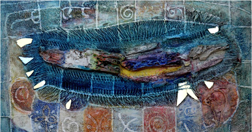"Sam Ovraiti, ""Mother's old cloth,"" 25 by 35 inches, mixed media. 