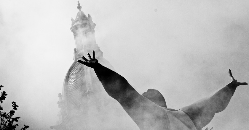 The air filled with smoke following a mascleta in Valencia. Photo: flickr