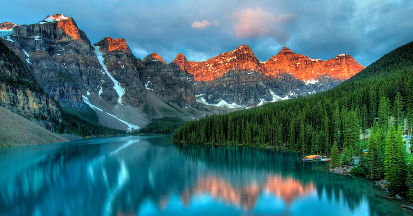 Taken at the peak of color during the morning sunrise at Moraine lake in Banff National park |