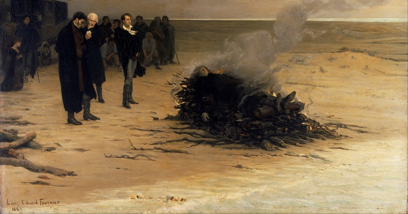 'The Funeral of Percy Shelley' by Louis Edouard Fournier (1889)   ©WikiCommons
