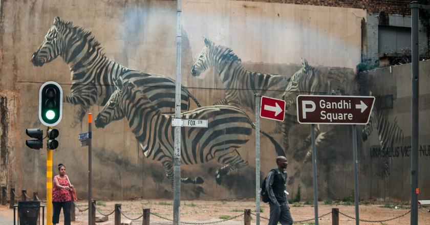 Zebra mural by Faith47 seen in Marshalltown   ©Marturin Le Goff/Flickr