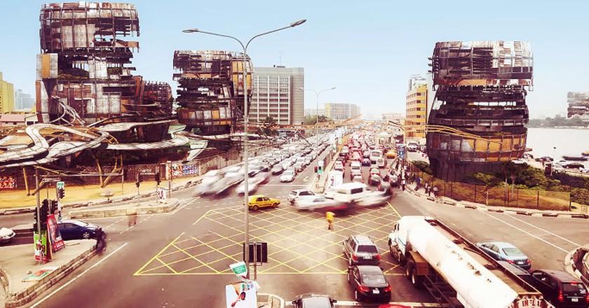 A depiction of a futuristic Lagos with improvised shanty megastructures | © Olalekan Jeyifous / Vigilism.com