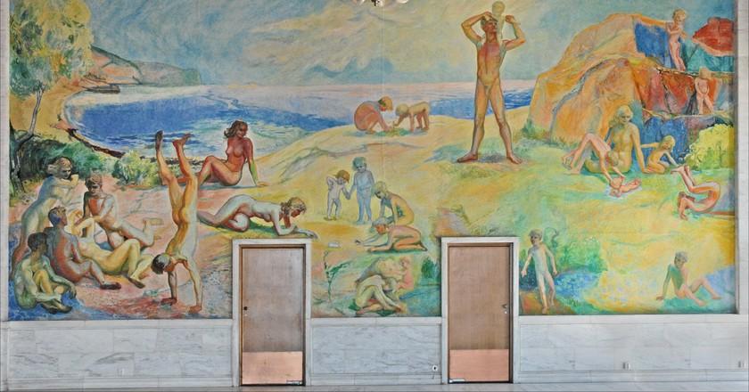 Wall inside Oslo City Hall © Jean-Pierre Dalbéra / Flickr