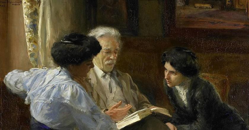 Alphons Marie Antoine Joseph Grandmont (1837-1909). Tweede echtgenoot van de schilderes, lesgevend aan twee Italiaanse meisjes, Bramine Hubrecht, 1900 - 1909 | © Public Domain