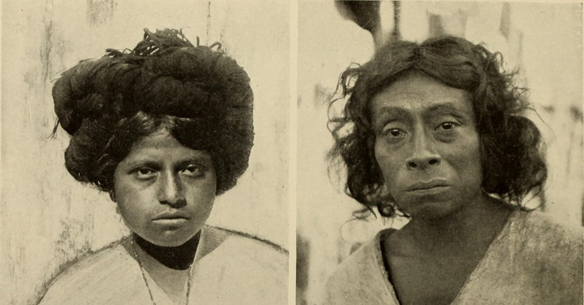 A Zapotec girl on the left and a Lacandon man on the right   © Spinden, Herbert Joseph, 1879-1967/WikiCommons