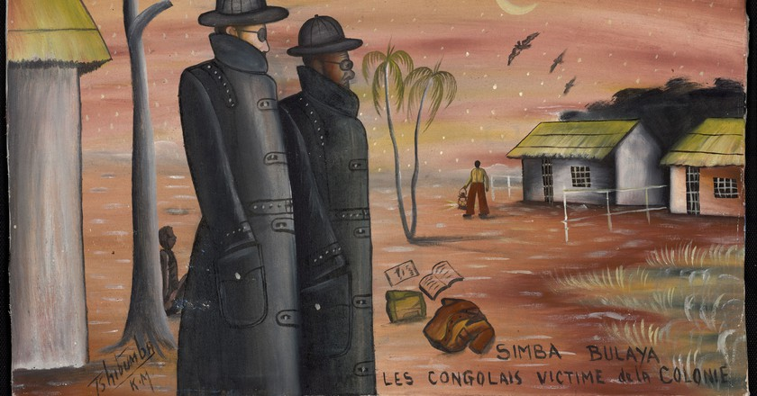 "Tshibumba Kanda-Matulu, ""Simba Bulaya"" (""Lions of Europe""); Lubumbashi, Haut-Katanga, DRC, 1973. Oil on canvas | Courtesy of Garage Museum of Contemporary Art"