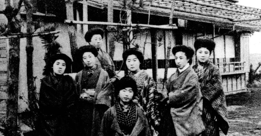 Members of Japan's first feminist magazine Seitō ('Bluestocking'), in Seitō Feb 1912 issue   Public Domain