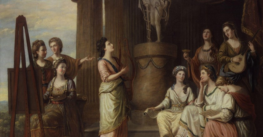 'Portrait in the Characters of the Nine Muses in the Temple of Apollo' (1778) by Richard Samuel. All the sitters are famous bluestockings of the day     ©National Portrait Gallery/Wikimedia Commons