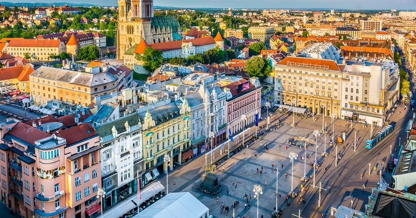 Aerial view at capital town of Croatia, Zagreb city main square, Europe.