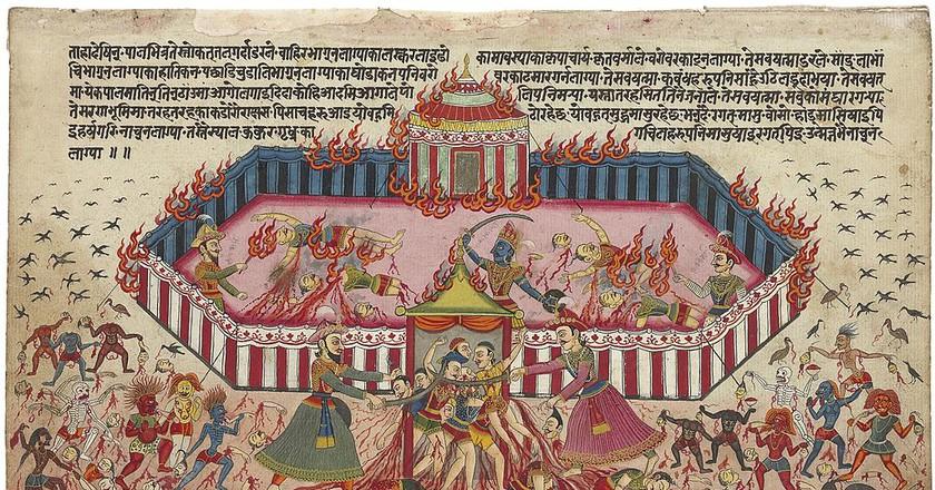"""<a href=""""https://commons.wikimedia.org/wiki/File:An_illustration_from_the_Mahabharata_1-large.jpg"""" target=""""_blank"""" rel=""""noopener noreferrer"""">Mahabharat illustration   Nepal, c. 1800 / Wikimedia Commons</a>"""