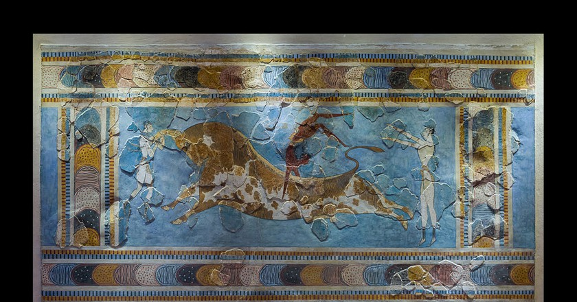 The bull-leaping fresco, original. Found in Knossos palace, Crete, Greece. (1600 - 1450 BCE )  | © Jebulon/WikiCommons