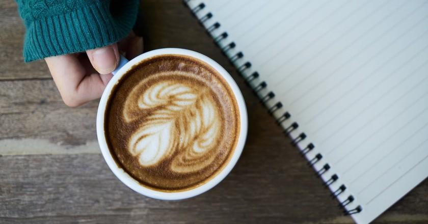 Hands Latte Caffeine Cup Green Notebook Coffee