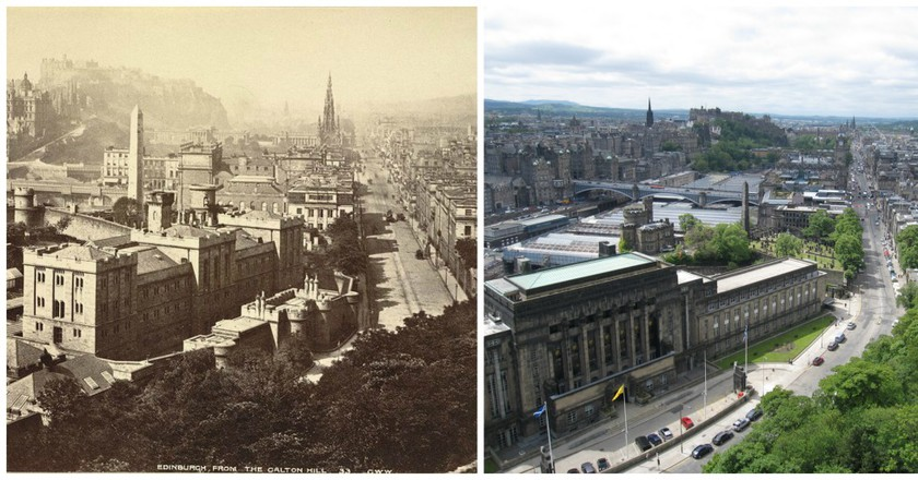 Edinburgh From Calton Hill c.1865 | © WikiCommons // Edinburgh From Calton Hill c.2011 | © Bernt Rostad/Flickr