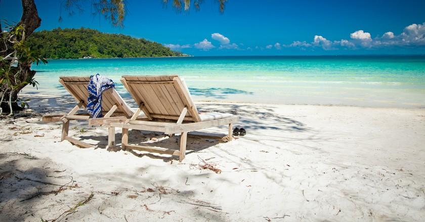 Beautiful turquoise beach on Koh Rong Samloem island in Cambodia