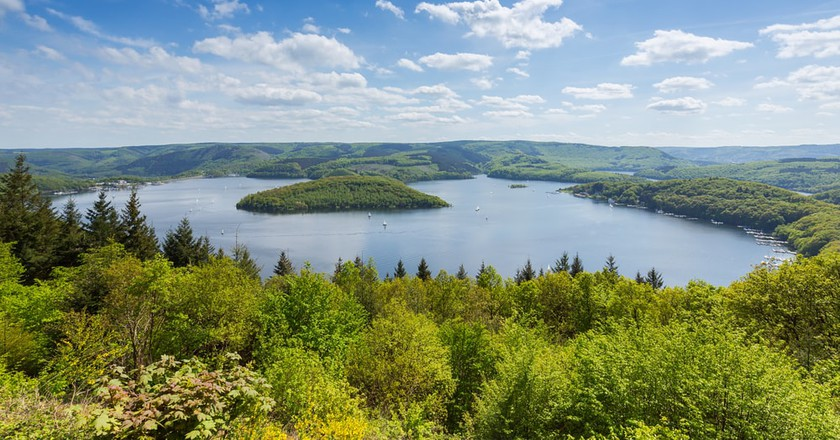 Aerial view of the Rursee lake in the Eifel region