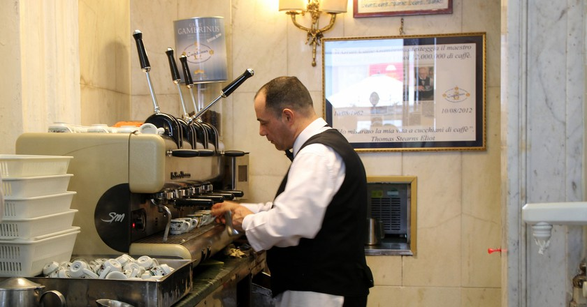 A barista expertly prepares the orders at Caffè Gambrinus   © Bex Walton/Flickr
