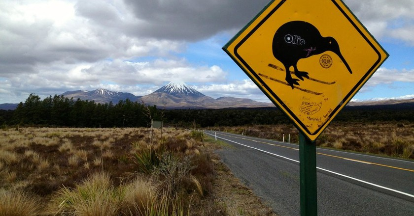 'Kiwi Crossing' Sign Near Tongariro National Park | © Ross Huggett/Flickr