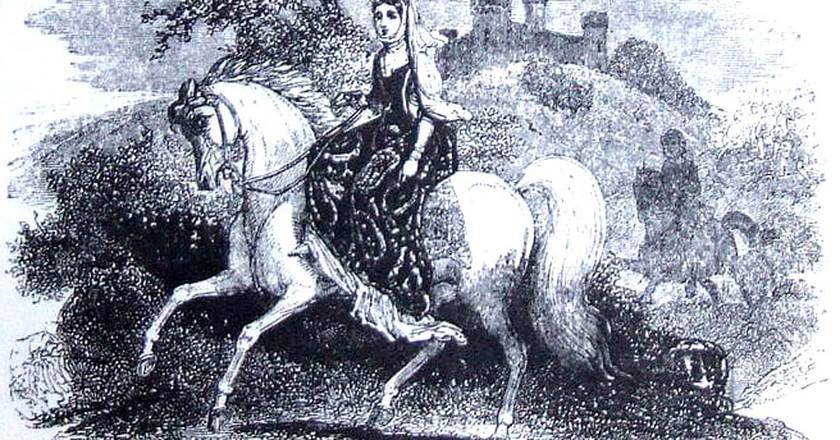 Rhiannon riding in Arberth