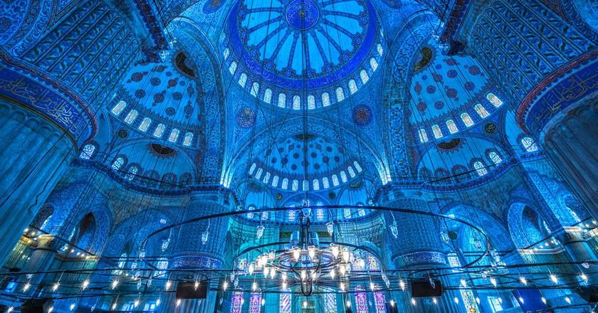 Interior of the Sultanahmet Mosque (Blue Mosque) in Istanbul, Turkey   © Luciano Mortula/Shutterstock