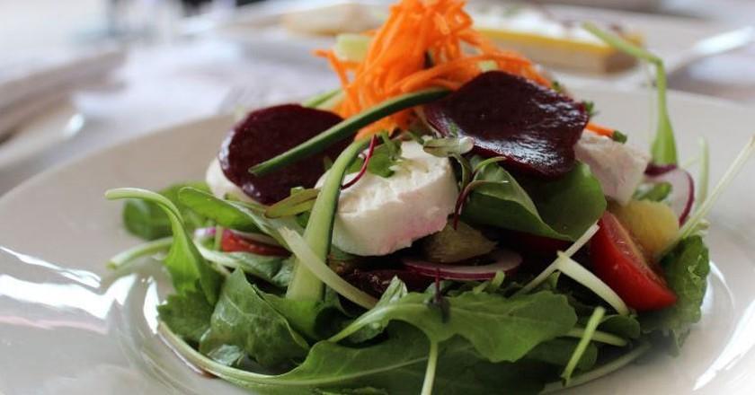 Beet, brinjal and mozzarella stack | © Stephnies