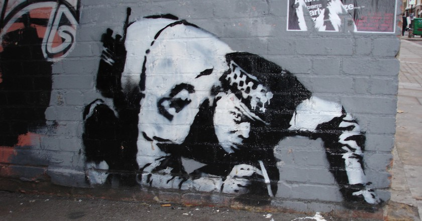 Restored Banksy Returns to Curtain Road in London