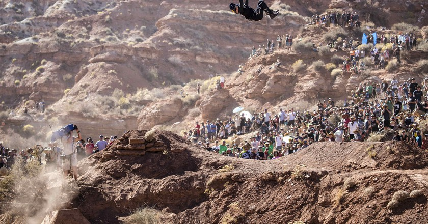 Andreu Lacondeguy competes at Red Bull Rampage in Virgin, Utah, USA on 27 October, 2017