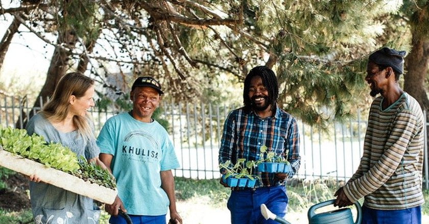 Jesse with Streetscapes farmers | © Darren Bester