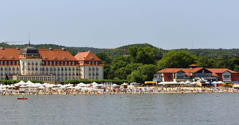Sopot beach with Grand Hotel   © DerHexer / WikiCommons