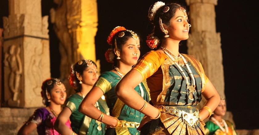 A Bharatanatyam dance recital inside the Brihadeeswarar Temple in Thanjavur, India