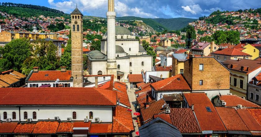 Old Town of Sarajevo with Gazi Husrev-beg Mosque and red tiled roofs of main bazaar, Bosnia and Herzegovina  © Boris Stroujko/Shutterstock