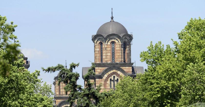 St. Mark's Church and Tasmajdan park in Belgrade, Serbia.