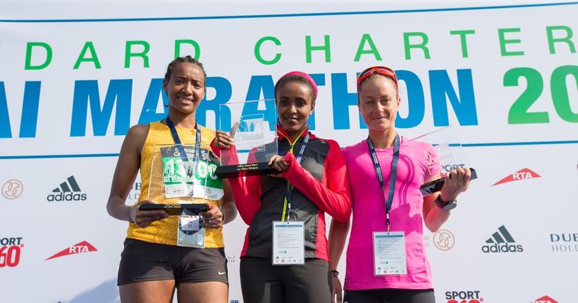 The women's winner of Dubai Marathon 2017 | Courtesy of Standard Chartered Dubai Marathon 2018