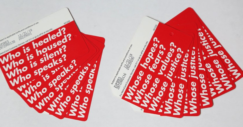 Limited edition MetroCards designed by Barbara Kruger   © Job Piston/Performa