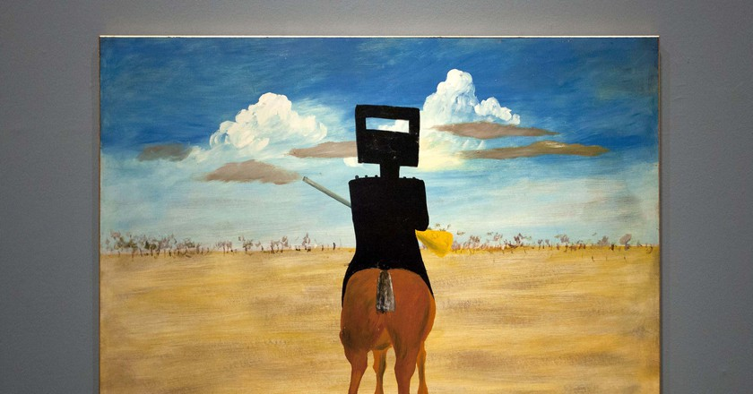 'Ned Kelly' (1946), part of the iconic series of paintings by Sidney Nolan portraying the Australian outlaw. 'Australia' art exhibition, Royal Academy of Arts, London, Britain - 17 Sep 2013. The exhibition, said to be the most significant survey of Australian art ever mounted in the UK, spanned more than 200 years, from 1800 to the present, and ran from the 21st of September to the 8th of December 2013. Photo by London News Pictures/REX/Shutterstock (3029264b)