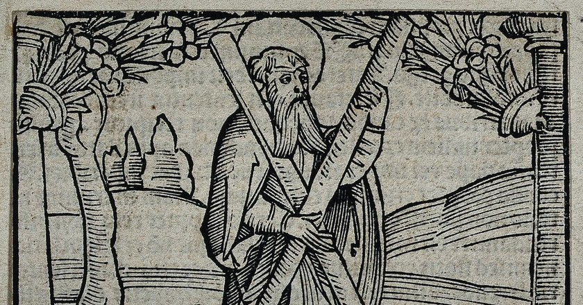 Saint Andrew Wood Engraving   © Wellcome Images via WikiCommons