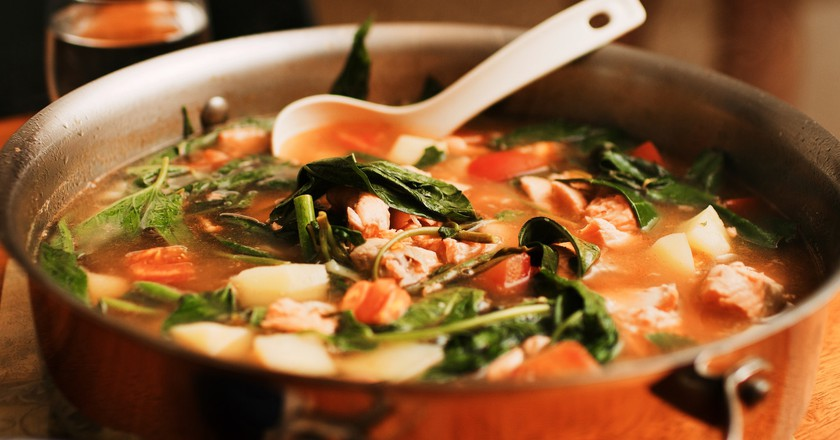 Pot of salmon sinigang