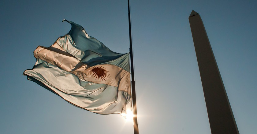 The Obelisco and the Argentine flag, Buenos Aires