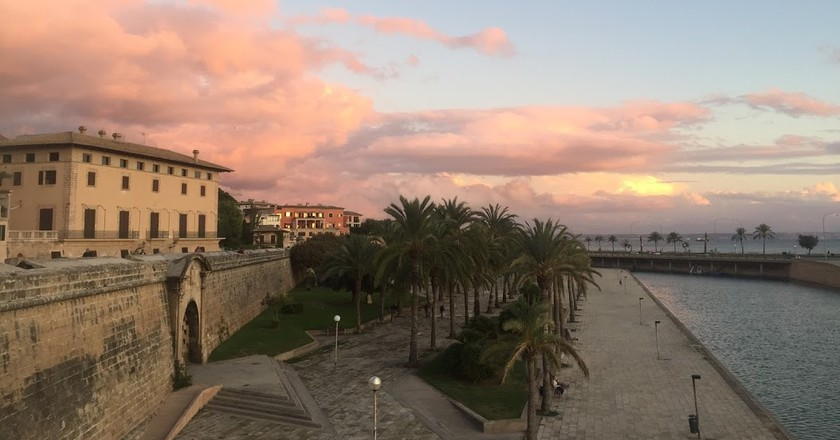 Palma old city walls at dusk