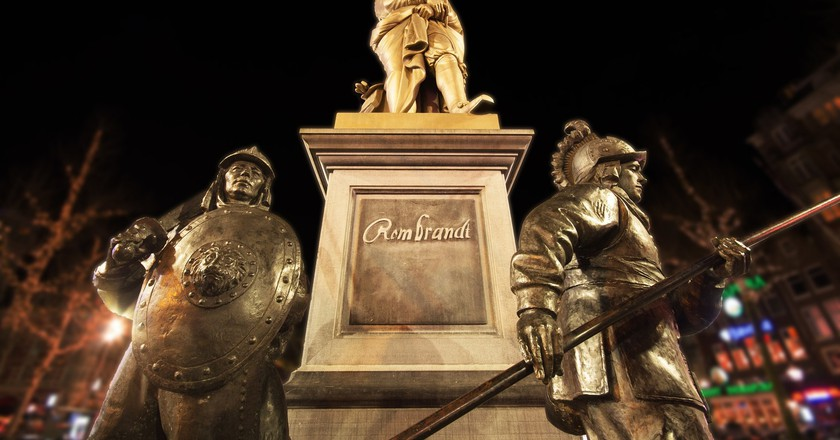 The statue of Rembrandt on Rembrandtplein