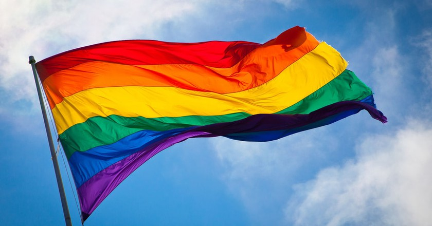 The rainbow flag waving in the wind