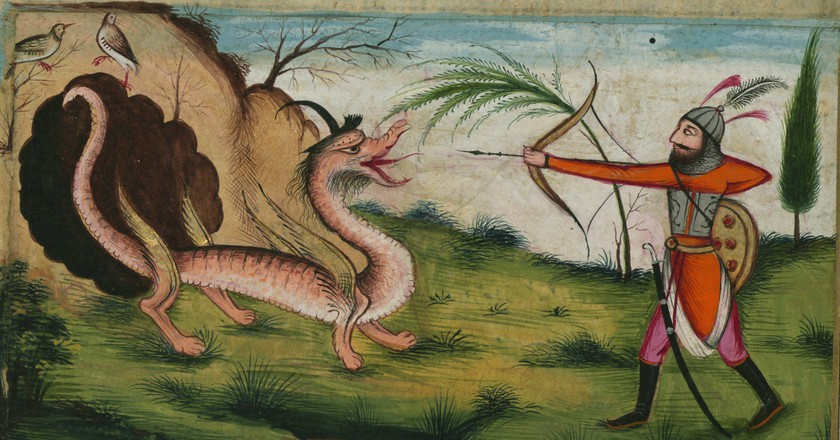 Illuminated Manuscript, Five poems (quintet), Bahrām Gūr kills a dragon, Walters Art Museum Ms. W.608, fol. 174a detail. Public domain.